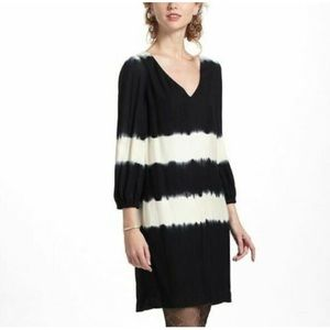 Floreat tie dye ink wash dress black and cream